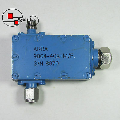 1×USED ARRA 9804-40X-M/F 12-18GHz 0-40dB 5W RF Continuously Variable Attenuator