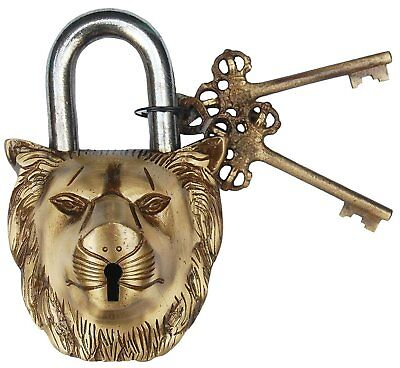 Lion face lock Brass Gold Fnish Antique style Padlock Key Brass Keys Yale Gift