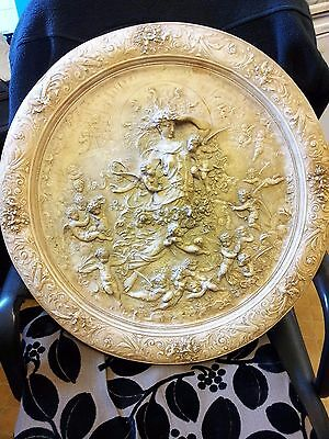 "Large vintage Circular Plaster Wall Plaque....""The Dawn"""