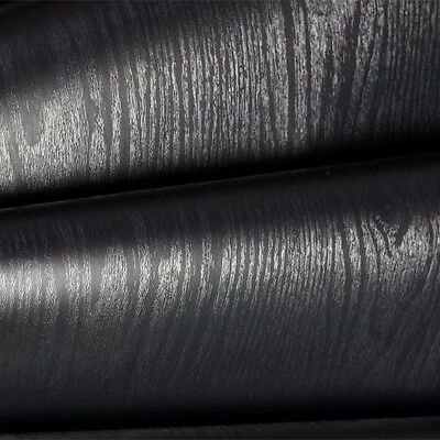 Black Wood Looking Textured Self Adhesive Decor Contact Paper Rolls Shelf Liner