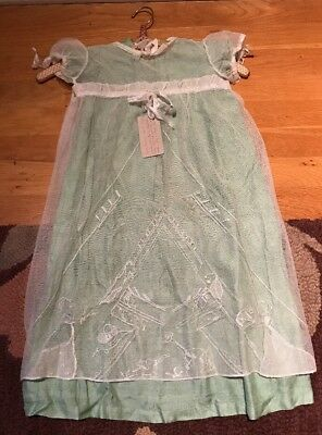 Antique Handmade Baby Christening  Dress Green With White Lace 1930's