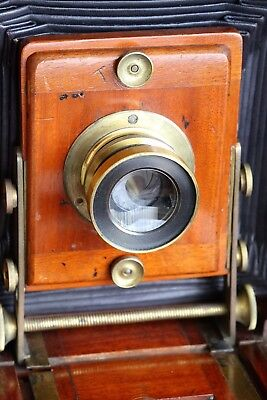 "Antique J.lancaster & Son ""the 1895 Instantograph"" Mahogany & Brass Plate Camera"