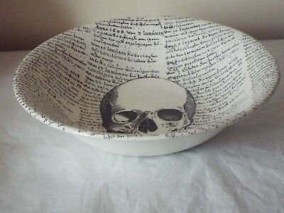 "Victorian English Pottery HALLOWEEN SKULL & SCRIPT GOTHIC LARGE 10.5"" SALAD BOWL"