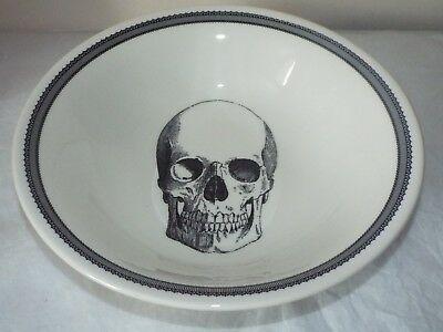 "Victorian English Pottery HALLOWEEN SKULL GOTHIC LARGE 10.5"" SALAD BOWL"