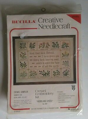 "Bucilla Crewel Embroidery Needlepoint Kit ""Herbs And Spices"" Flowers Plants"