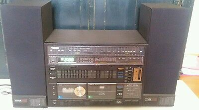 Vintage Yorx AM FM Stereo Double Cassette Recorder Player 2 S25 Speakers 1980s