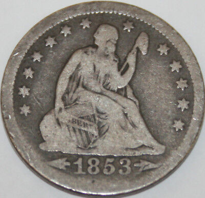 1853-P Seated Liberty Quarter Arrows and Rays [SN05]
