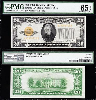 Amazing GEM UNCIRCULATED 1928 $20 *GOLD CERTIFICATE*! PMG 65 EPQ! A35953715A