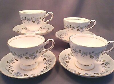 Vintage 1950s TUSCAN Moonlight (Blue Floral) 4 x TEA CUPS & SAUCERS - VGC