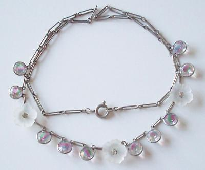 Vintage Edwardian Beautiful Opaque Flowers & Rainbow Crystal glass Drop Necklace