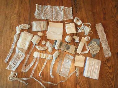 Antique Assortment Lace Trim Pieces for Doll Dress Craft Making