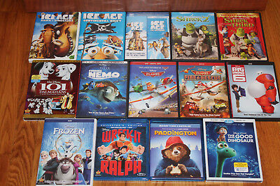 Lot of 14 Disney, Shrek, Ice Age, Paddington DVD Blue Ray Kids Movies EUC!
