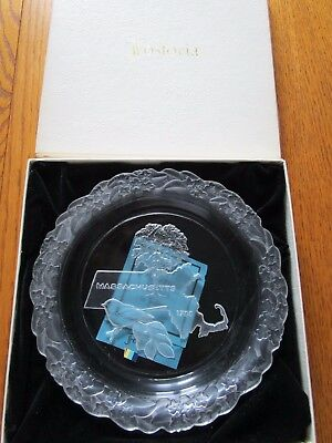 Vintage Fostoria Crystal MASSACHUSETTS Plate  w/ Box