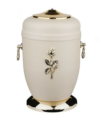 Beautifu Steel  Cremation Urn for Ashes with Gold Rose Funeral Urn for Adult UK