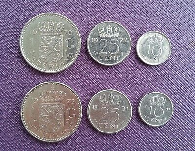Netherlands 2 one guilder, 2 twenty five cents and 2 ten cents coins