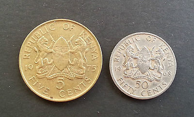 Kenya 1975 five 5 Cents & 1968 50 cents coins good condition