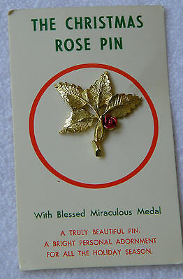 """Vintage NWT Religious """"Christmas Rose"""" Goldtone Enamel Holiday Pin Brooch"""