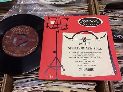"""Moondog Ep.""""on The Streets Of New York"""".1955London Gold+Tri.centre+Picture Cover"""
