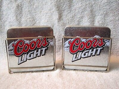 Rare - Set Of 8 - Coors Light Metal With Cork Coasters With Holders -Collectible