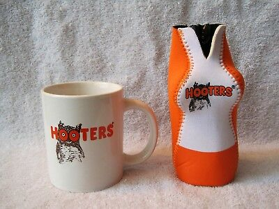 Rare - Original Hooters Logo Coffee Cup & Hooters Uniform Drink Cozy-Great Gift!
