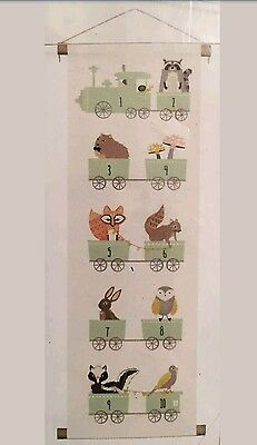 Canvas Wall Banner Nursery Childs Room Number Train Whimsical Woodland Animals