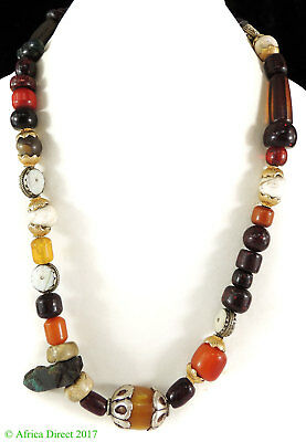 Tibetan Necklace Faux Amber Sacred Chank Shell 40 Inch