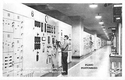 "Grand Coulee Dam, Washington ""Control Room"" Rppc Real Photo Postcard"