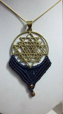 Handmade Solid Brass Thread Wrapped Decorated Jewellery Shree Yantra Earing Pair