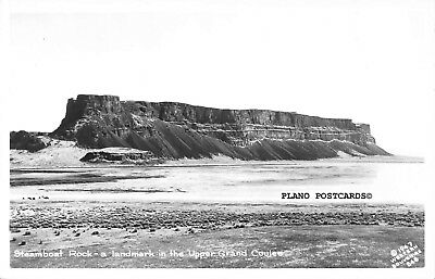 "Grand Coulee Dam, Washington ""Steamboat Rock-Upper"" Rppc Real Photo Postcard"