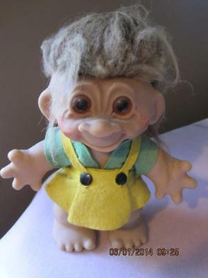 RARE 1961 Thomas Dam Large Size TROLL DOLL  9 1/2 in.  Denmark  Orig Clothes VG
