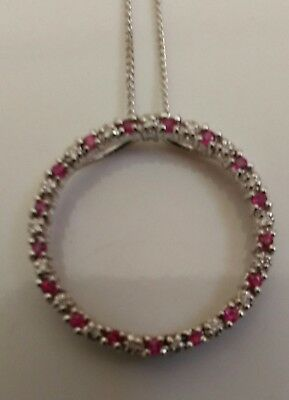 9ct gold ruby and diamond circle of life necklace