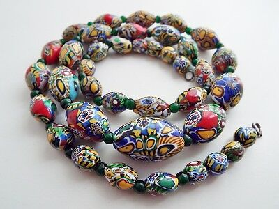 Rare ANTIQUE Venetian Millifiori Rooster Cane Glass Graduated Bead Necklace 27""