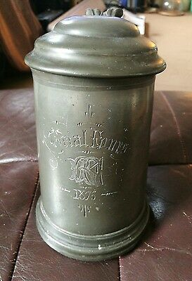 SUPERB ANTIQUE VICTORIAN PEWTER ROWING TANKARD TRAIL FOURS 1875 not sure of club