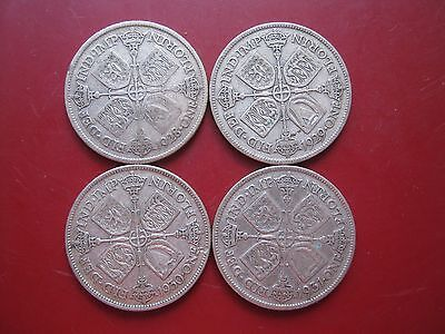 British 1928 1929 1930 1931 George VI Silver 2 Shillings Florin 4x Coins