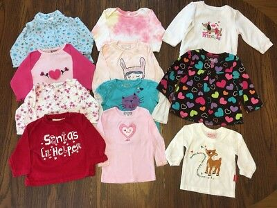 Lot Of 11 Baby Girl Long Sleeved Shirts Size 12 Months