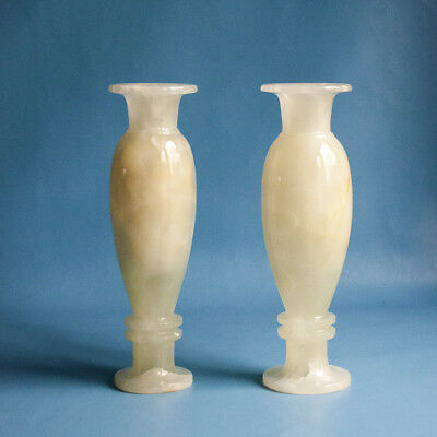 Vintage Retro 1970s80s Pair Of Pale Onyx Vases Decorative Urn Shape