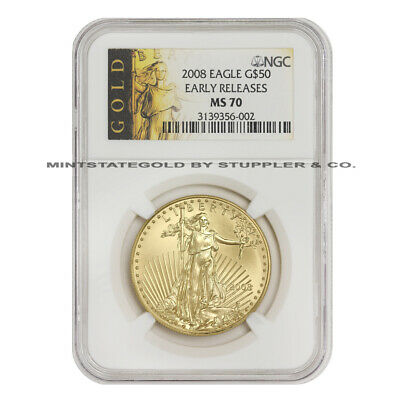 2008 $50 Eagle NGC MS70 Early Release American Gold Bullion 1oz 22-Karat Coin