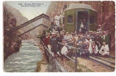 Chicago White Sox at Royal Gorge, CO. Team Photo with Train. 1911 Post Card
