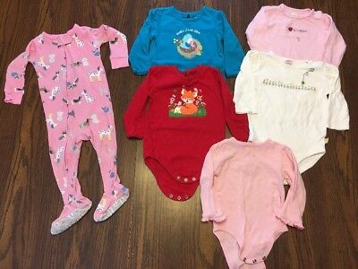 Lot Of 6 Baby Girl Long Sleeve Bodysuits/Sleeper Size 12 Months