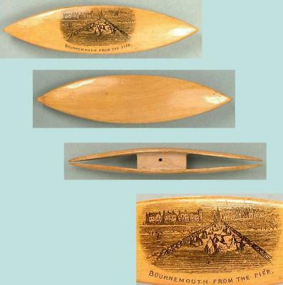 Antique Mauchline Ware Tatting Shuttle * View of Bournemouth * Circa 1880