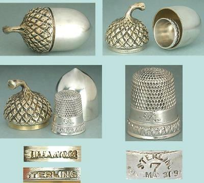 Antique TIFFANY Sterling Gilded Silver Acorn Thimble Case * Early 20th Century