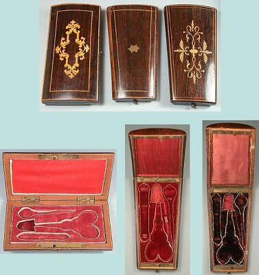 Three Antique Fitted Wooden Sewing Set Cases * French * Circa 1840