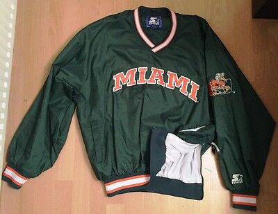 VINTAGE 90's MIAMI HURRICANES University of Miami NCCA Nylon Pullover Jacket