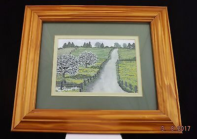 Embroidered Picture Art By G.m.jones Mounted & Framed Countrside