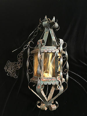 Antique Stained Marbled Glass Hanging Metal Light Fixture, Vintage w/Chain