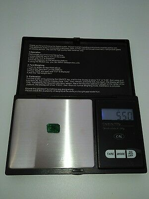 Cute clear natural Colombian emerald 5.50 CT emerald cut from Colombia New Gem