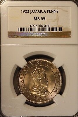 1903 Jamaica Penny NGC MS 65                ** FREE U.S. SHIPPING **