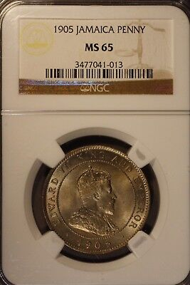 1905 Jamaica Penny NGC MS 65                ** FREE U.S. SHIPPING **