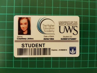 Fake ID Student card. Personalised, novelty, prop, prank.