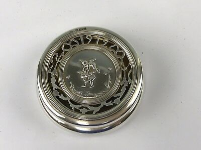 1919 London Sterling Silver Round Box, Cherubs Playing Leapfrog, Hyde Park Hotel